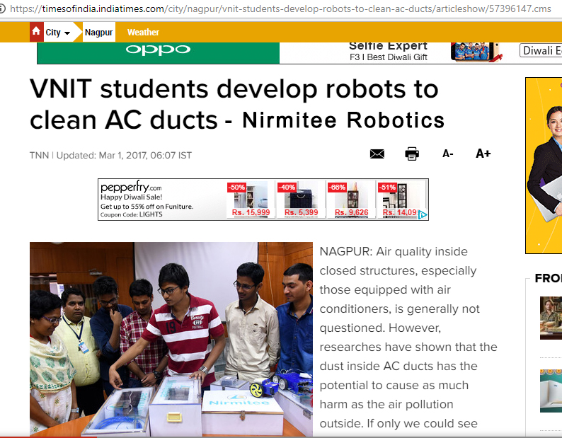 VNIT students develop HVAC cleaning Robots