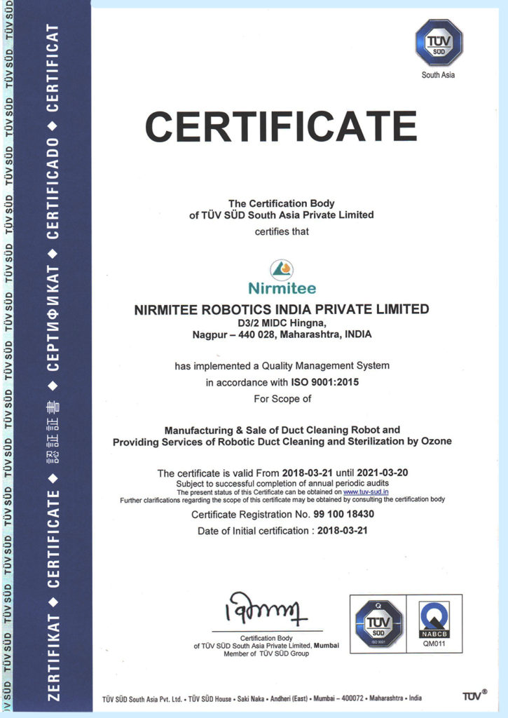 Tuv Sud South East Asia Certificate Nirmitee Robotics