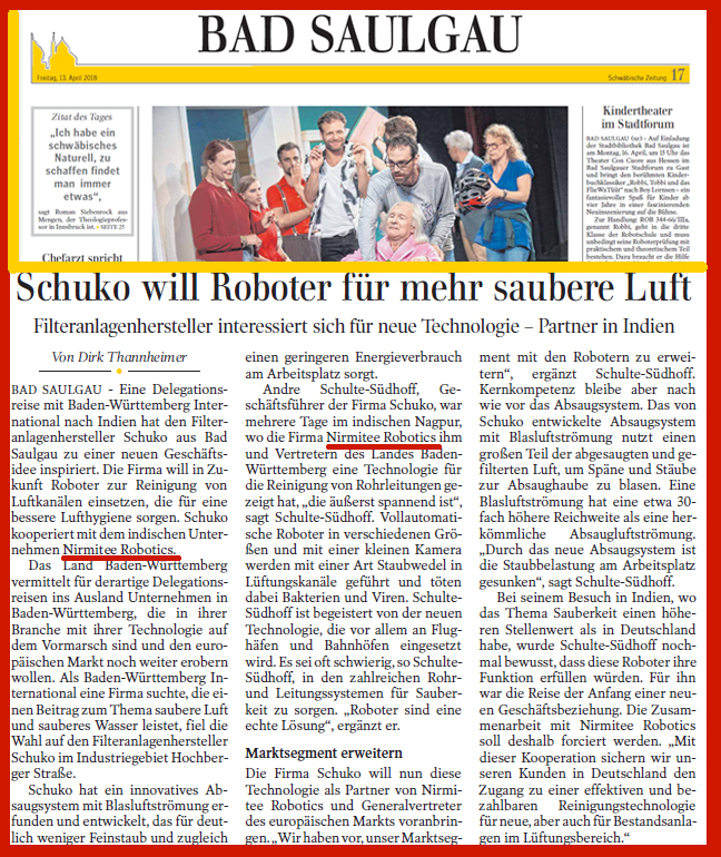 http://www.nirmiteerobotics.com/schuko-nirmitee-collaboration-in-german-newspaper/